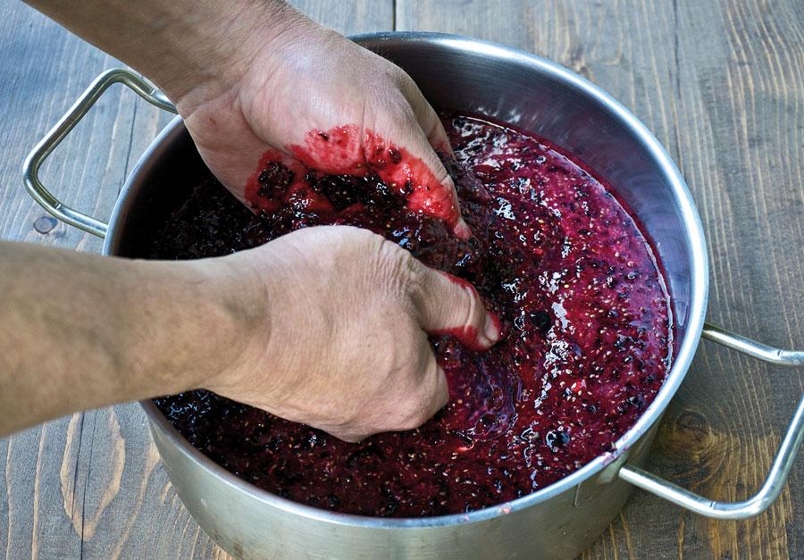 разминание черной смородины для вина