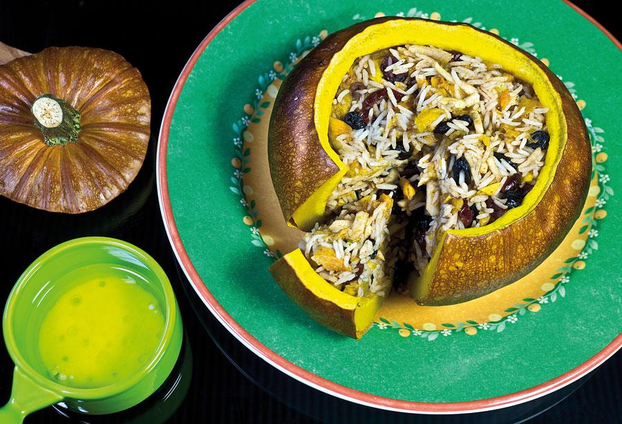 сервировка и подача хапамы - фаршированной тыквы