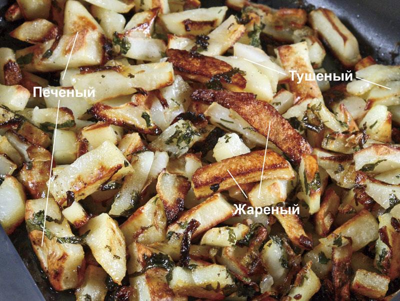 сервировка и подача картофеля жареного, печеного и тушеного одновременно